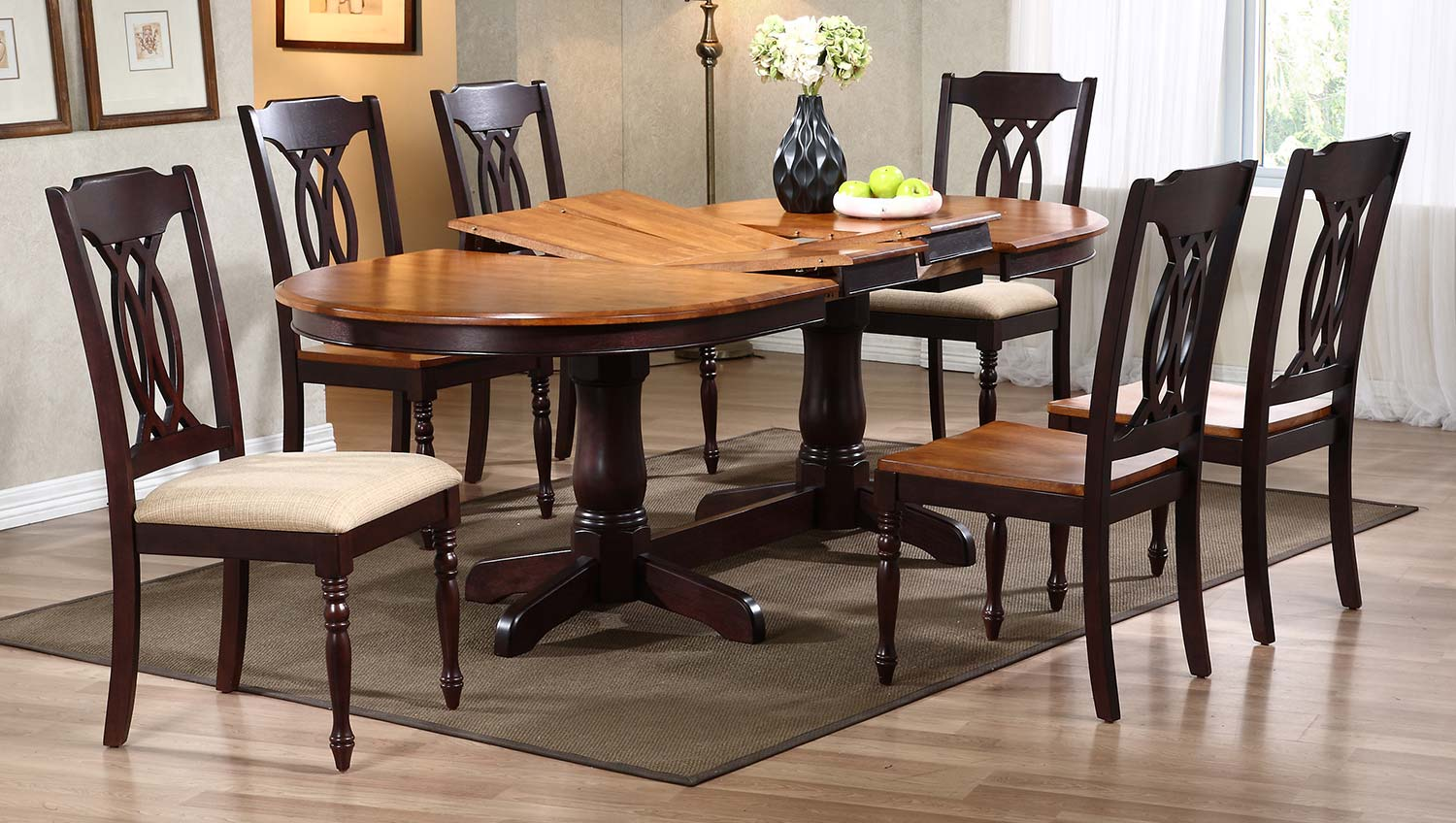 Iconic Furniture Oval Double Pedestal Dining Set with Traditional Back Chair - Whiskey/Mocha