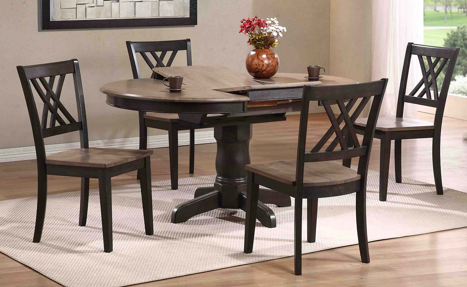Iconic Furniture Dining Set   Grey Stone/Black Stone