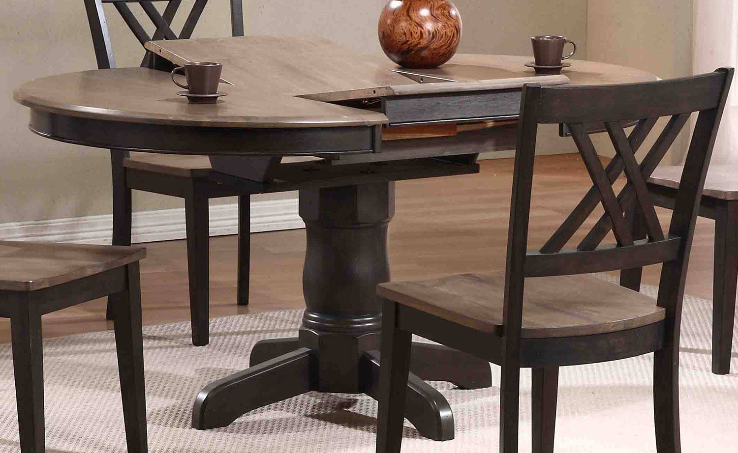 Iconic Furniture Round Oval Pedestal Dining Table Grey Stone Black