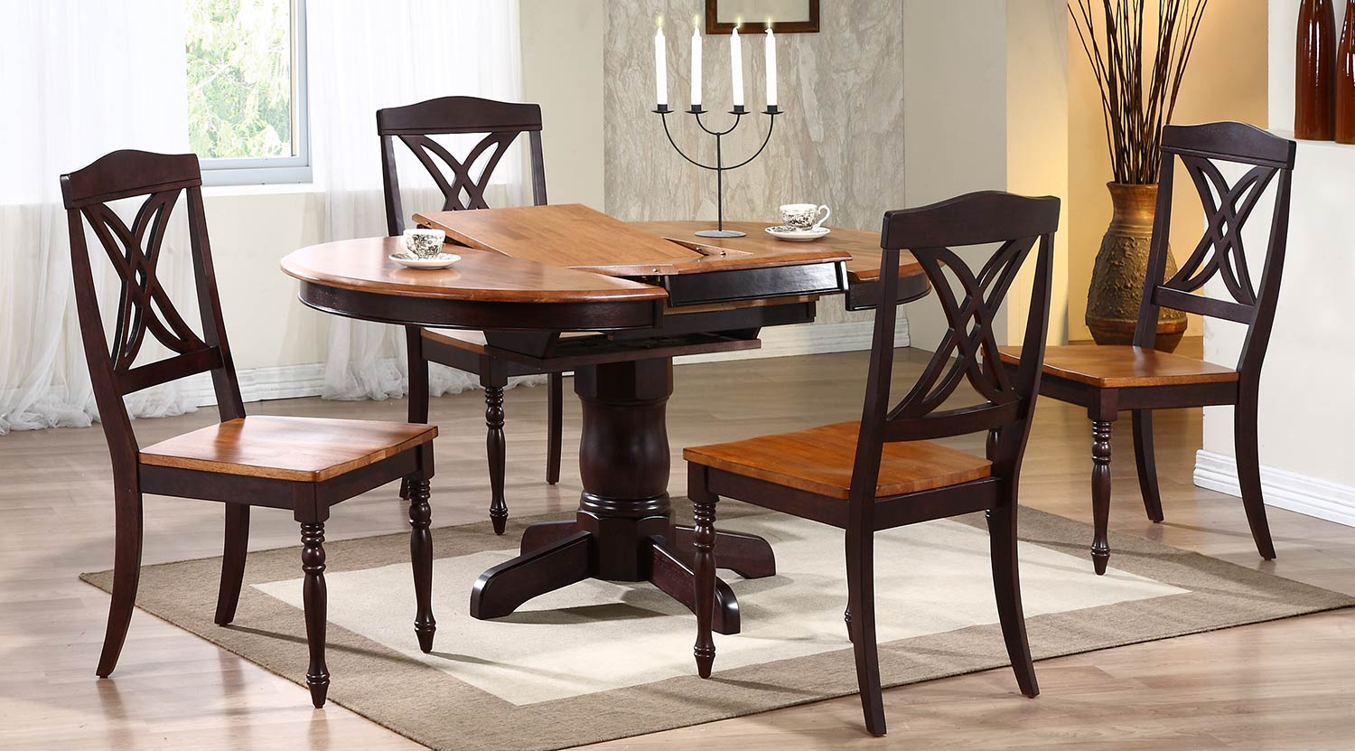 Iconic Furniture Round/Oval Pedestal Dining Set with Butterfly Back Chair - Whiskey/Mocha