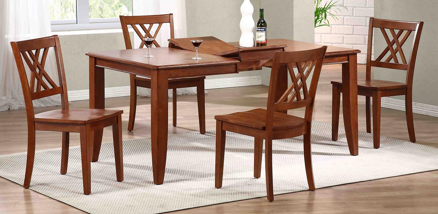 Iconic Furniture Rectangular Leg Dining Set with Double X-Back Dining Chair - Cinnamon/Cinnamon