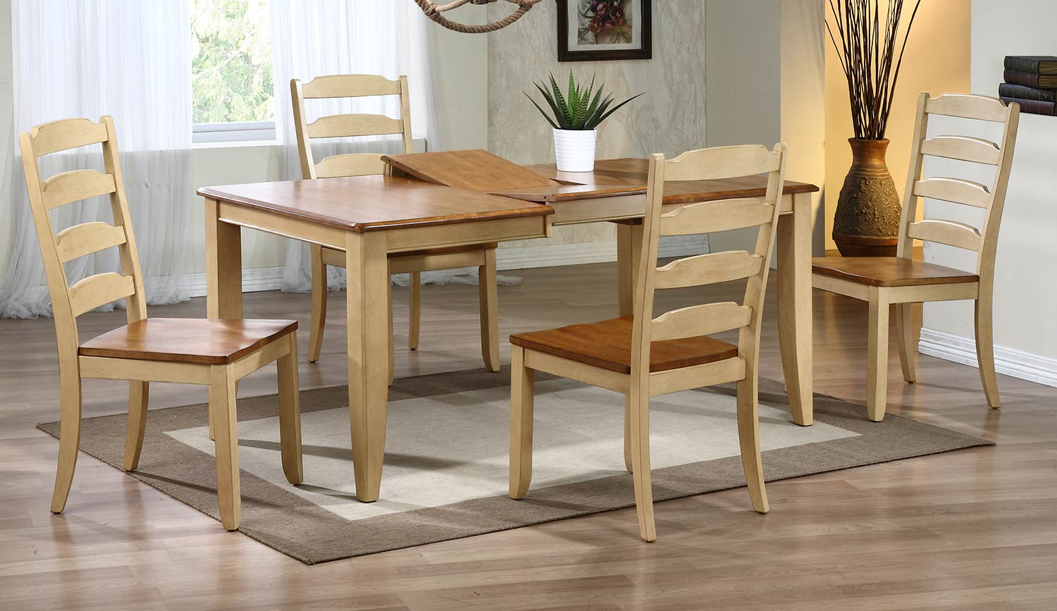 Iconic Furniture Rectangular Leg Dining Set with Ladder Back Dining Chair - Honey/Sand