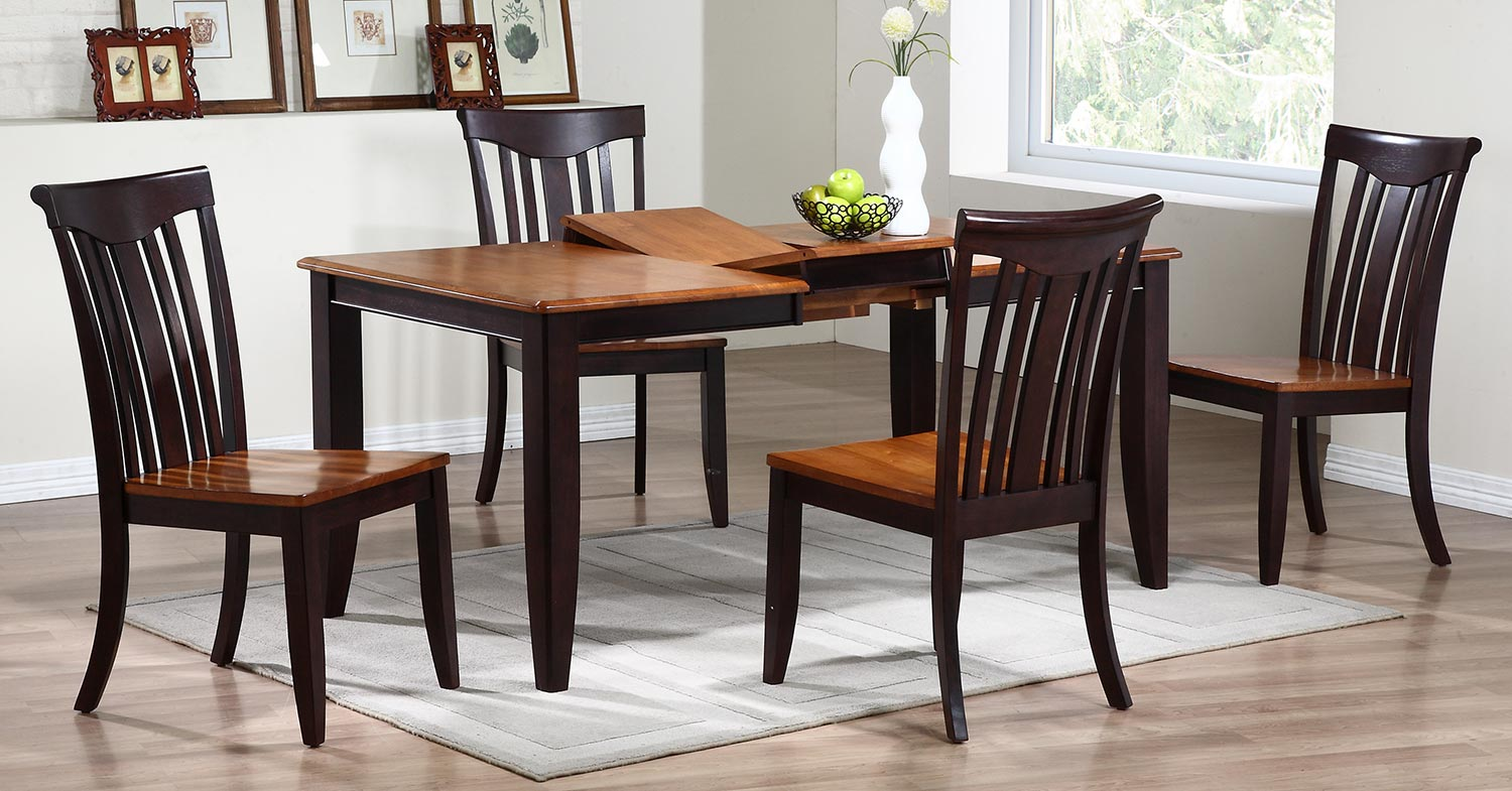 Iconic Furniture Rectangular Leg Dining Set with Modern Slat Back Chair - Whiskey/Mocha
