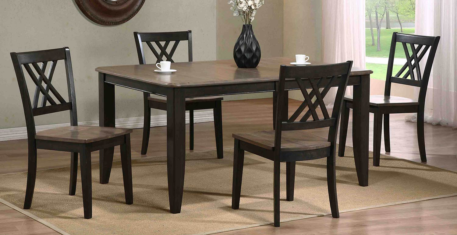 Iconic Furniture Rectangular Leg Dining Set with Double X-Back Dining Chair - Grey Stone/Black Stone