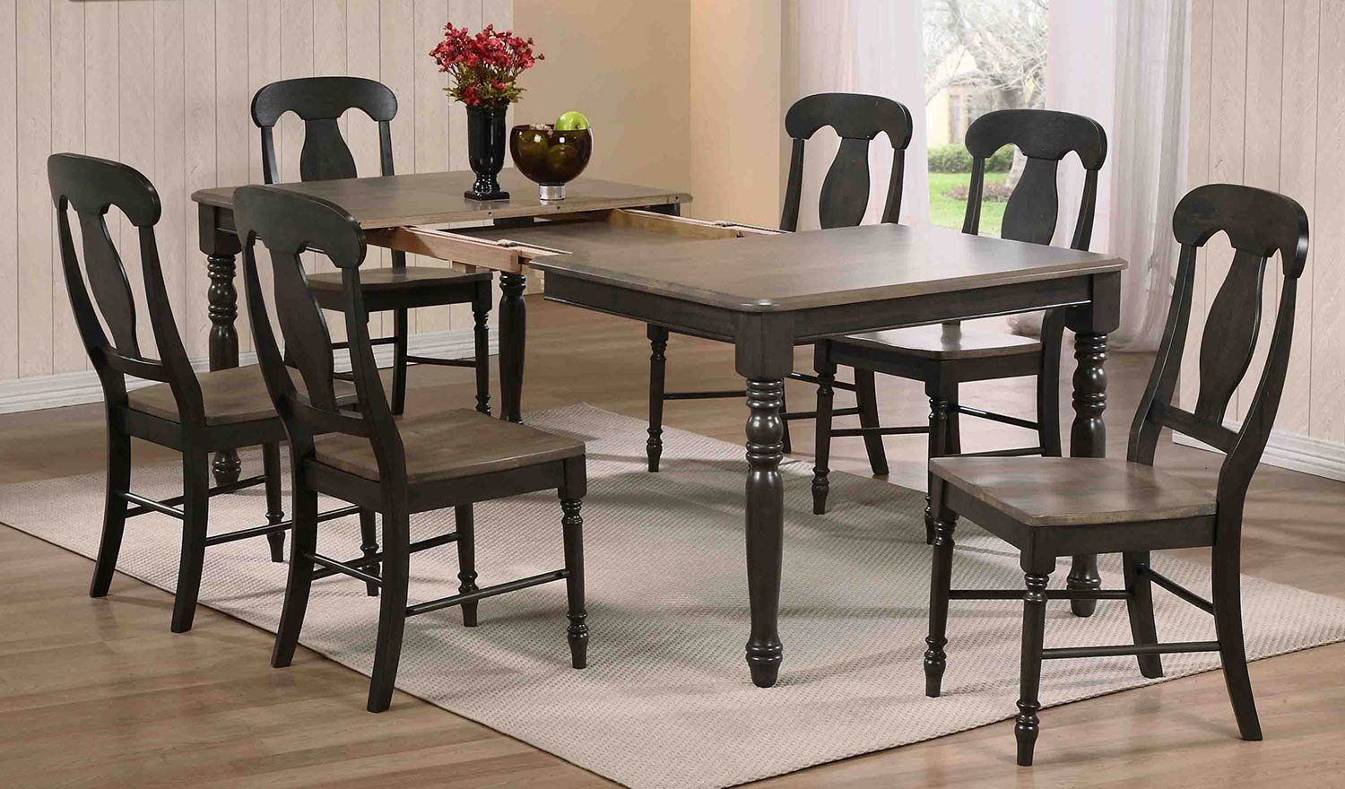 Iconic Furniture Rectangular Leg Dining Set with Napoleon Back Dining Chair - Grey Stone/Black Stone