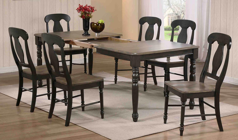 Iconic Furniture Rectangular Leg Dining Set with Napoleon Back Dining Chair - Grey Stone/Black Stone