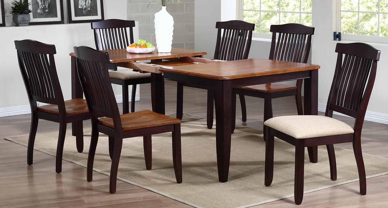 Iconic Furniture Rectangular Leg Dining Set wiwth Open Slat Back Dining Chair - Whiskey/Mocha