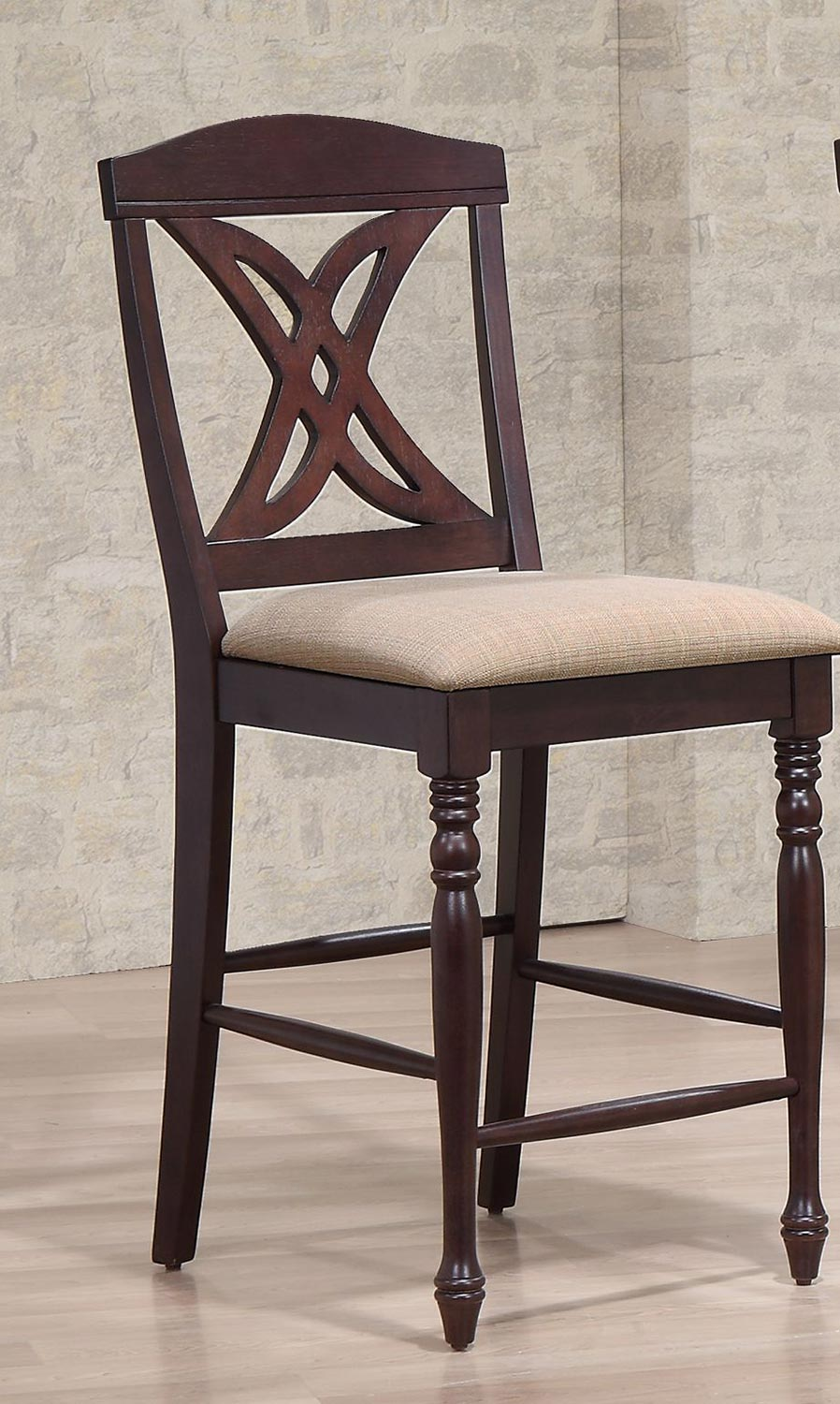 Iconic Furniture Butterfly Back 24-inch Counter Stool Upholstered Seat - Whiskey/Mocha