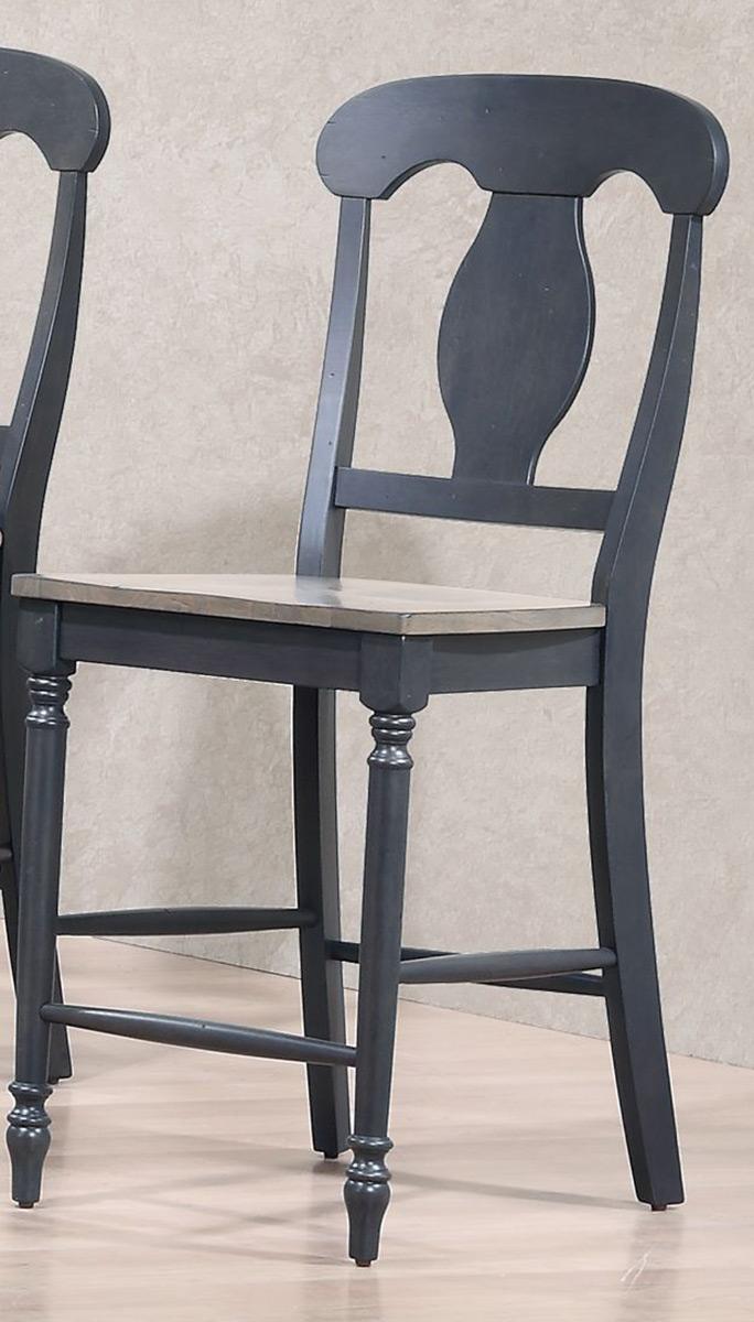 Iconic Furniture Napoleon Back 24-inch Counter Stool - Grey Stone/Black Stone