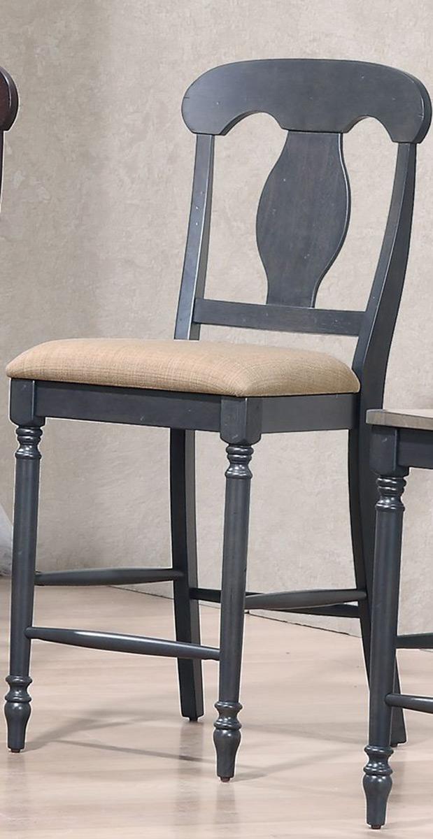 Iconic Furniture Napoleon Back 24-inch counter Stool Upholstered Seat - Grey Stone/Black Stone