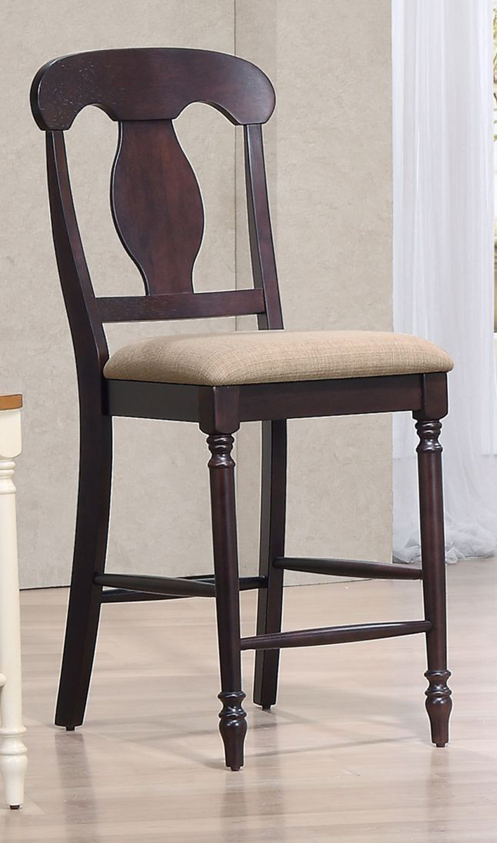 Iconic Furniture Napoleon Back 24-inch Counter Stool Upholstered Seat - Whiskey/Mocha