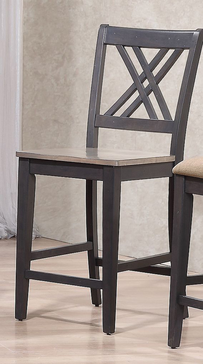 Iconic Furniture Double X- Back 24-inch Counter Stool - Grey Stone/Black Stone