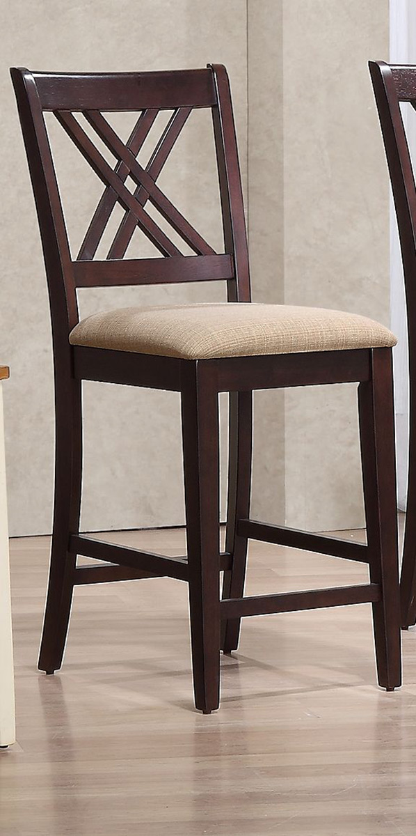 Iconic Furniture Double X- Back 24-inch Counter Stool Upholstered Seat - Whiskey/Mocha