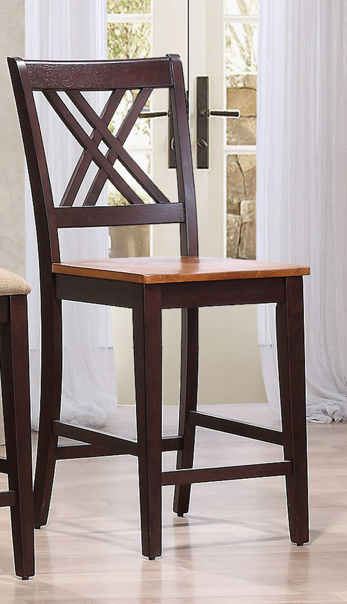 Iconic Furniture Double X- Back24-inch Counter Stool - Whiskey/Mocha