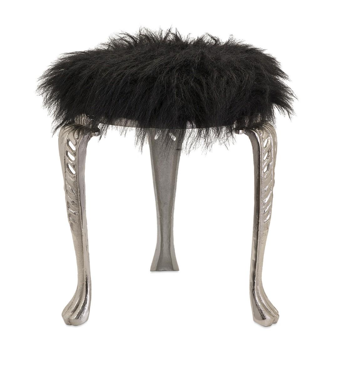IMAX Nikki Chu Neely Black Fur Stool