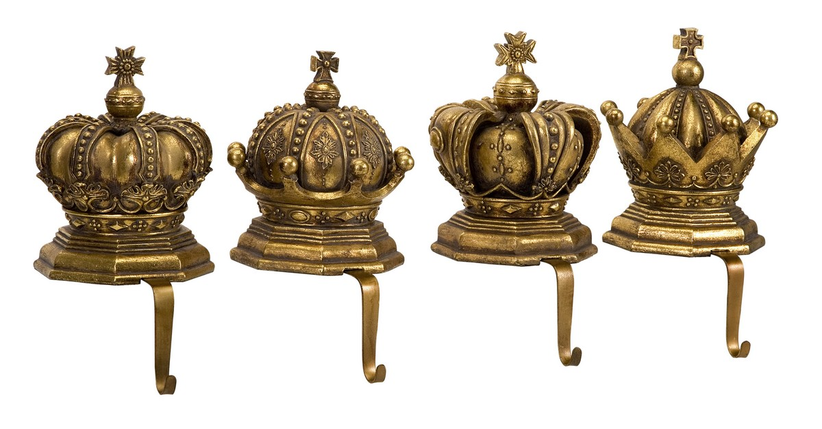imax gold crown stocking holders set of 4 59341 4. Black Bedroom Furniture Sets. Home Design Ideas