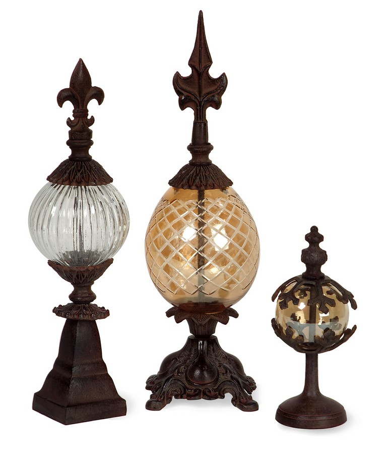 Glass and Metal Finials - Set of 3 - IMAX