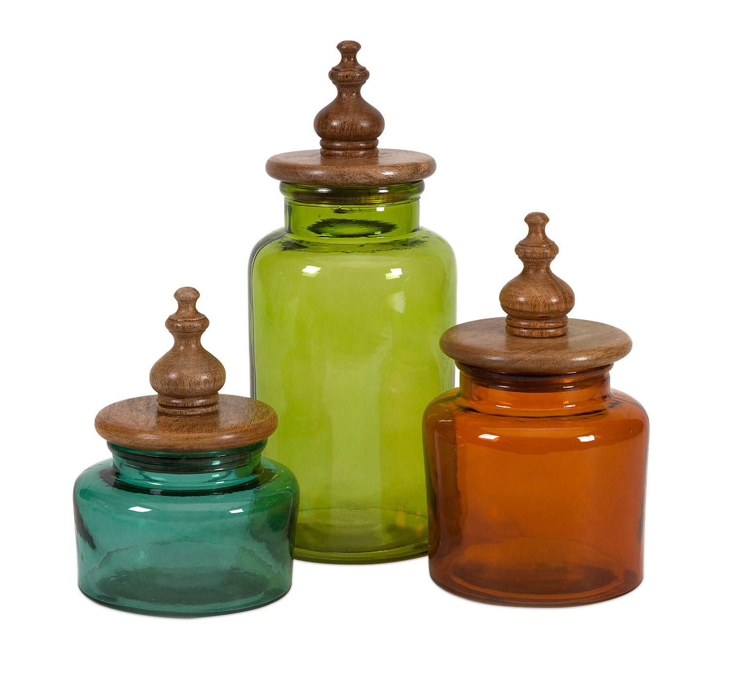 Modern Kitchen Canisters Imax Saburo Glass And Wood Lid Canisters Set Of 3 71723