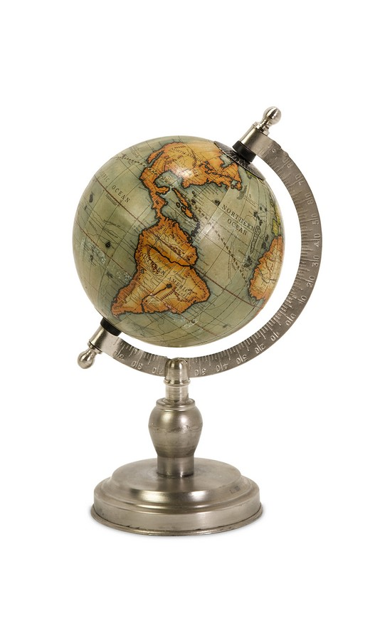 Colombo Small Globe With Nickel Finish Base - IMAX