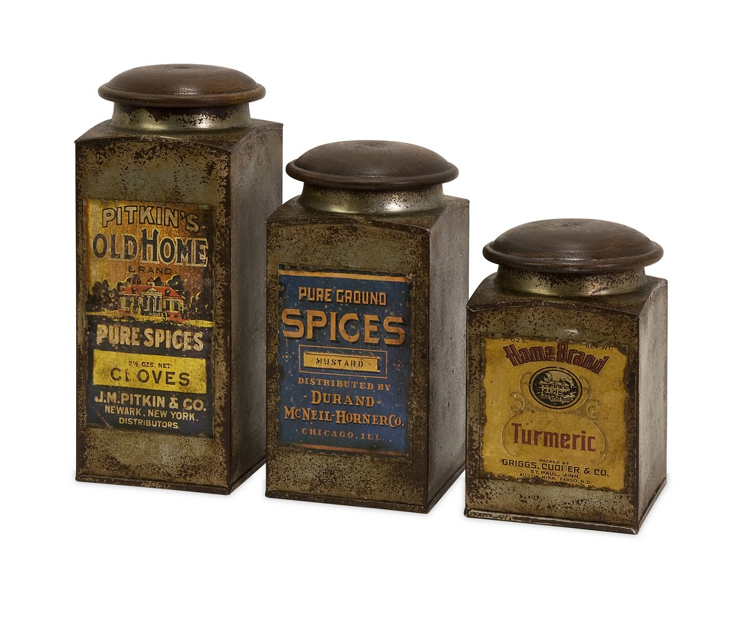 Addie Vintage Label Wood And Metal Canisters - Set of 3 - IMAX