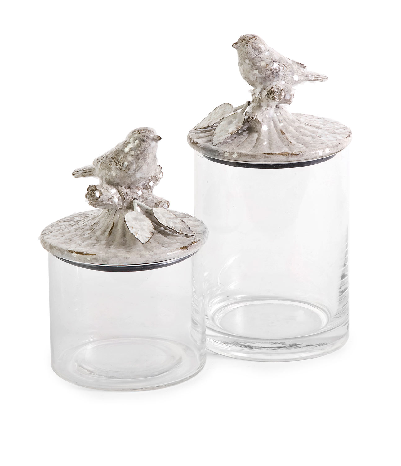 IMAX Woodland Vintage Bird Canisters - Set of 2