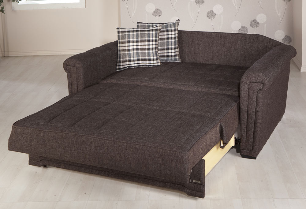 Istikbal Victoria Sleeper Love Seat Andre Dark Brown