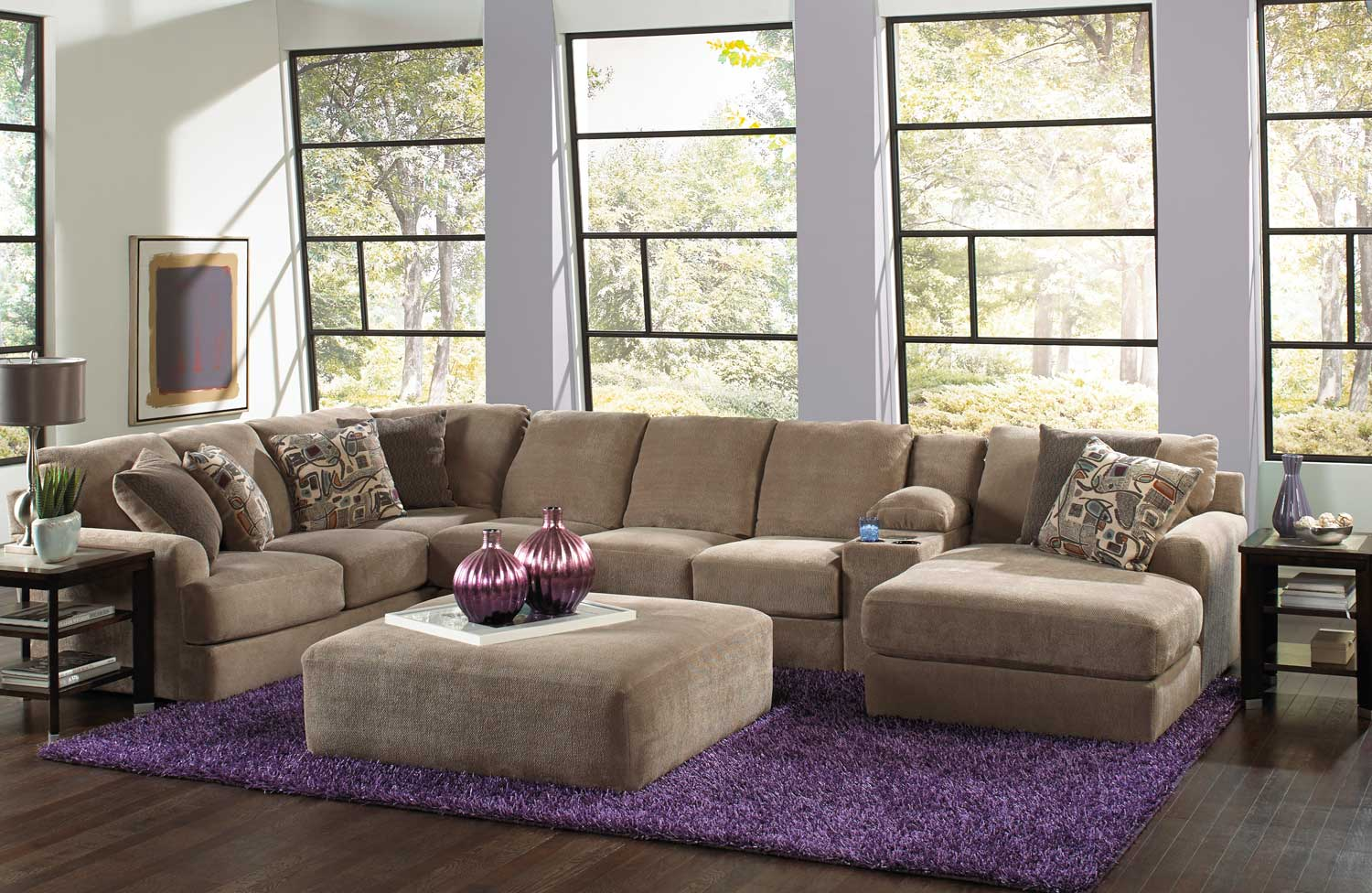 Jackson Malibu Large Chaise Sectional With Ottoman Set A Jf 3239 Set 1 Taupe At