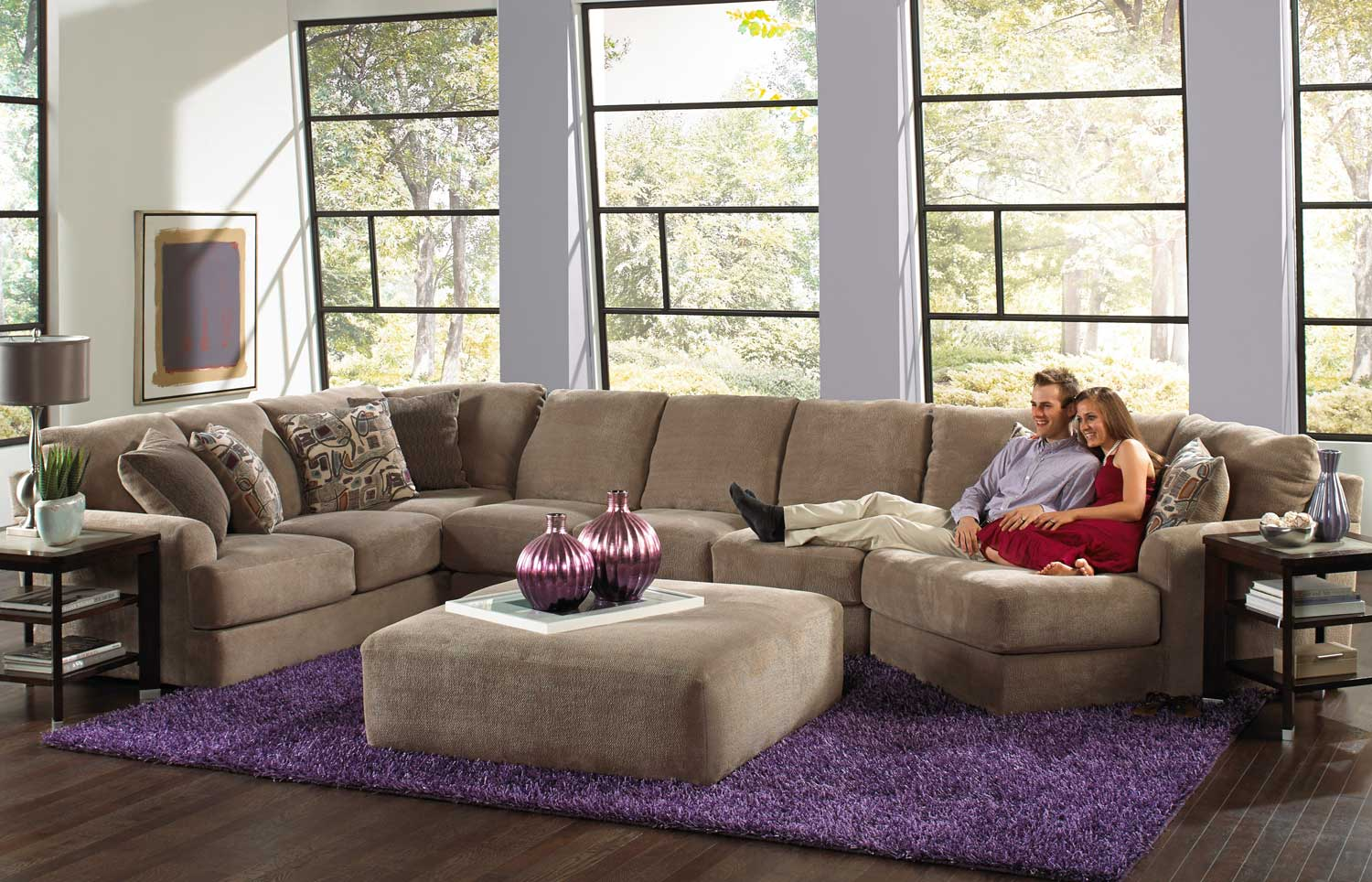 Jackson malibu large chaise sectional with ottoman set b jf 3239 set 2 taupe at for Living room furniture configurations