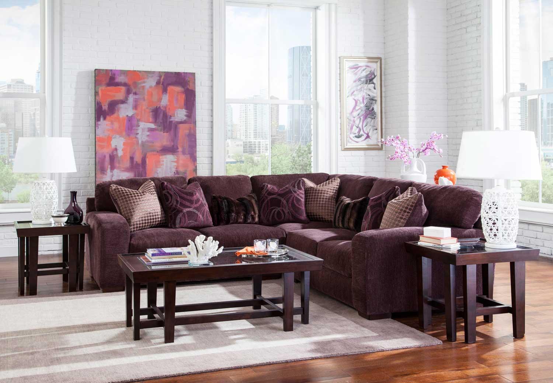 Jackson Serena Sectional Sofa Set - Plum