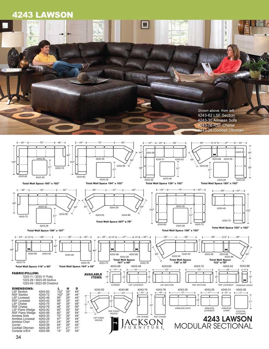 Jackson Lawson Sectional Sofa Set A   Chestnut