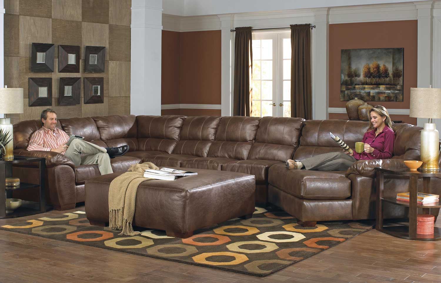 Jackson Lawson Sectional Sofa Set B Chestnut Jf 4243 Sect Set B Chestnut At
