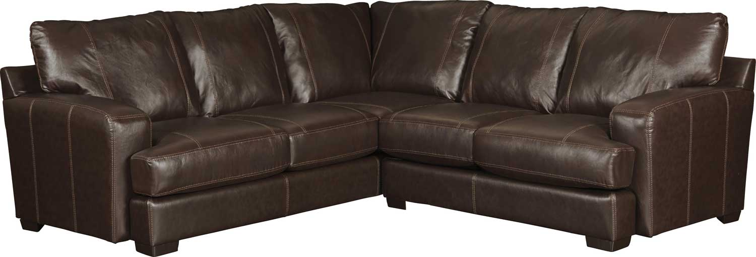 Jackson Barrington Leather Match Sectional Sofa Set A   Mahogany