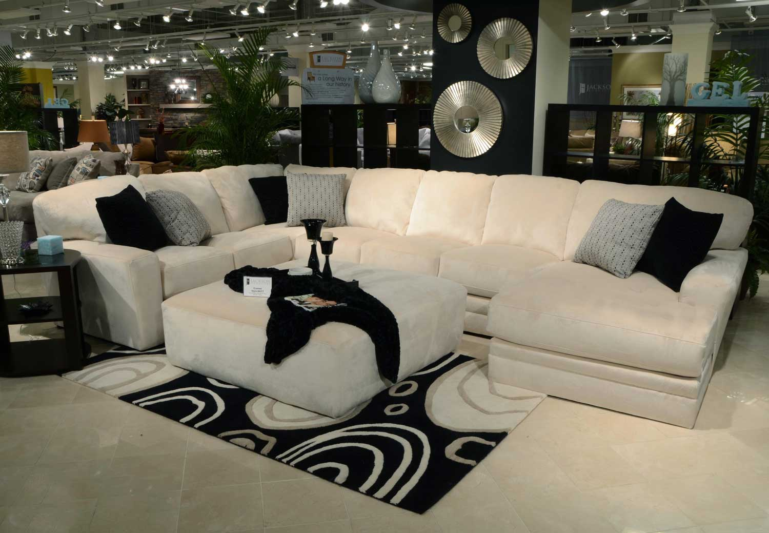 Jackson everest sectional sofa set b ivory jf 4377 sect for Jackson furniture sectional sofa