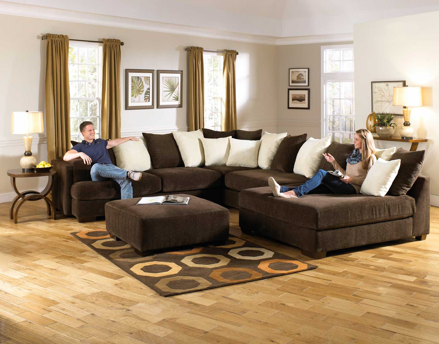 Jackson Axis Large Sectional Sofa Set Chocolate Jf 4429