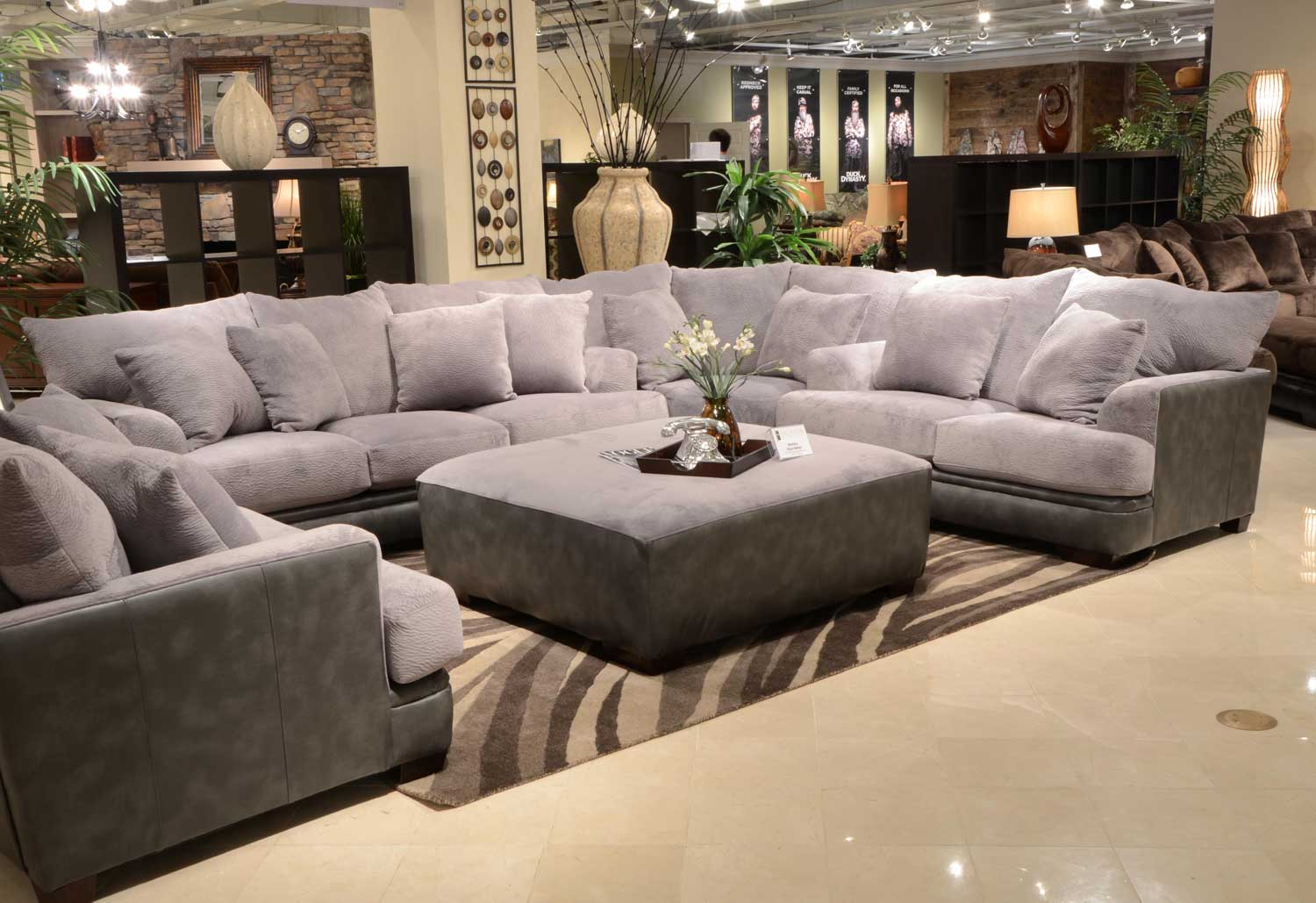 Jackson barkley sectional sofa set grey jf 4442 sect set for Large 3 piece sectional sofa