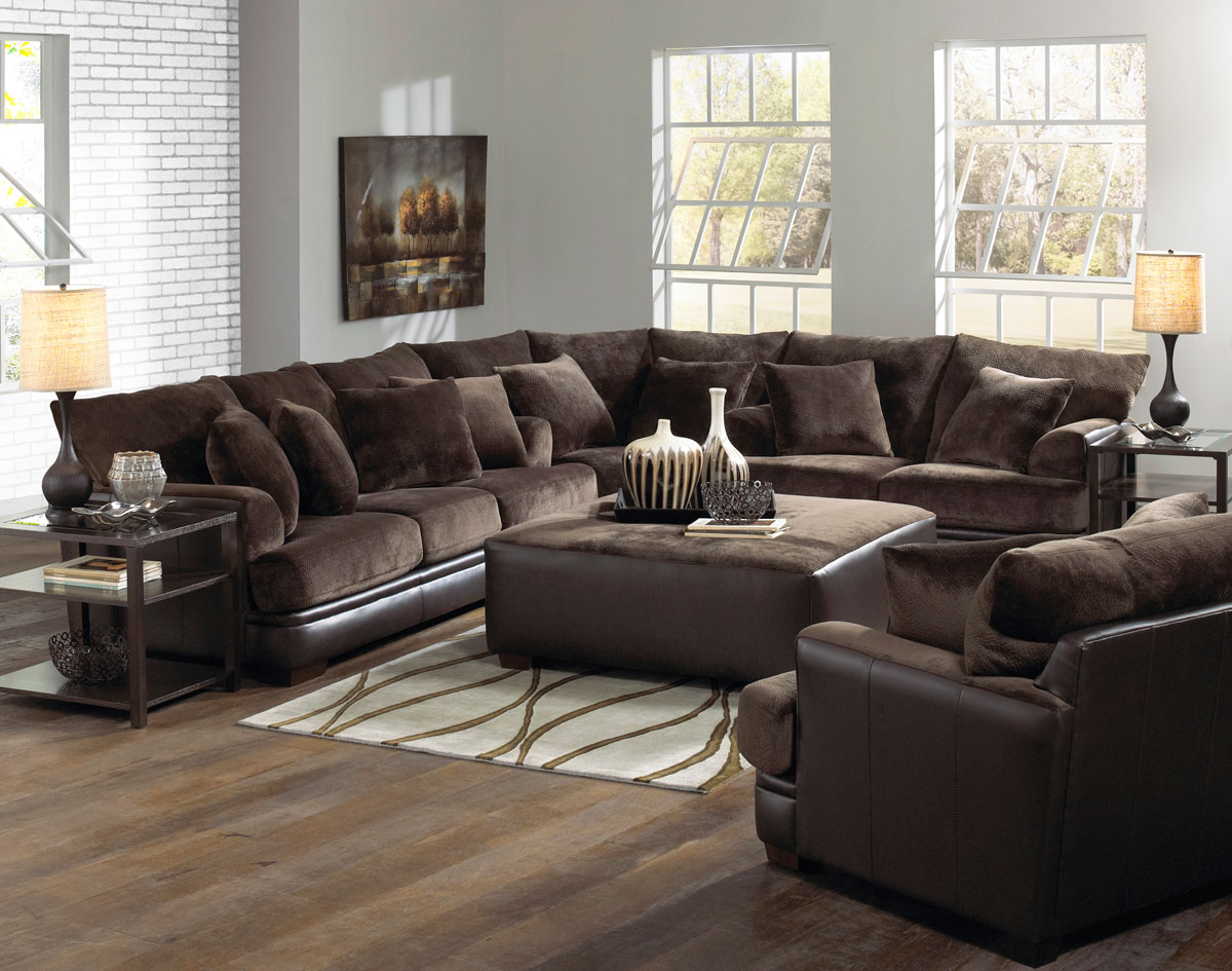 Jackson barkley sectional sofa set chocolate jf 4442 - Pictures of living rooms with sectionals ...