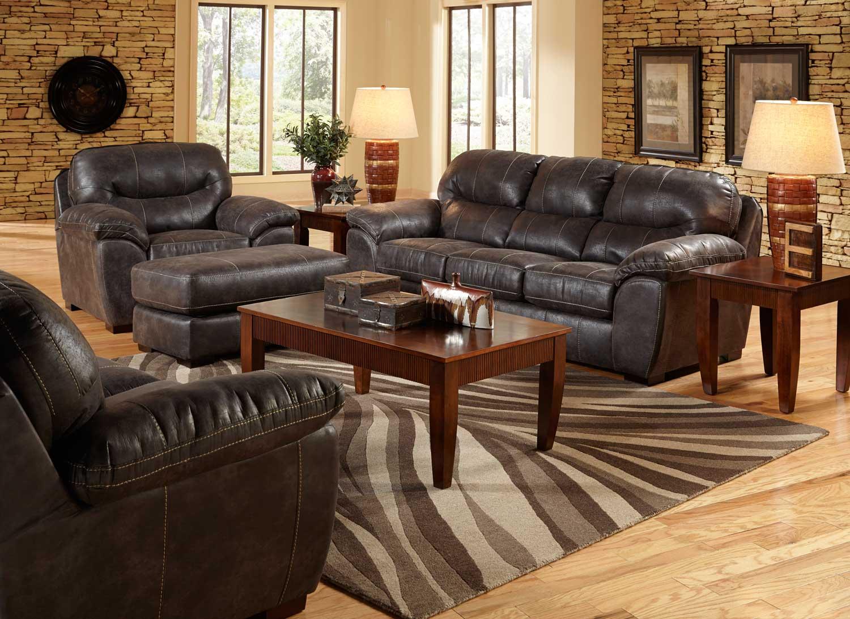 Jackson Grant Bonded Leather Sofa Set - Steel