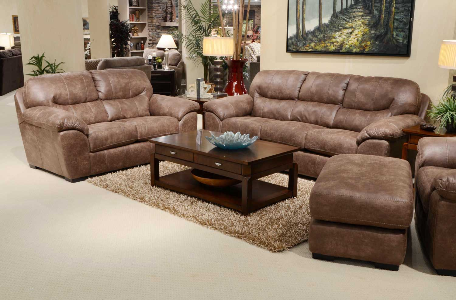 Jackson Grant Bonded Leather Sofa Set - Silt