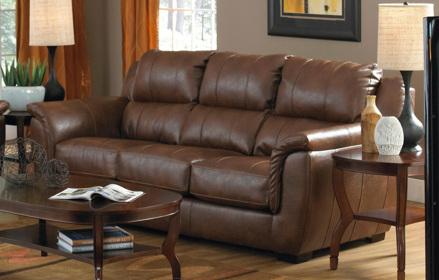 Jackson Verona Leather Sofa Chestnut