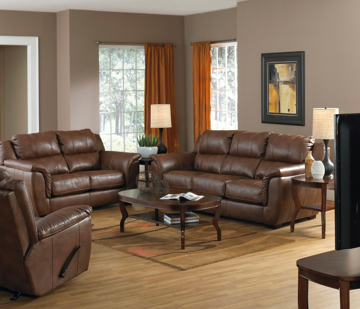 Jackson Verona Leather Sofa Set Chestnut Jf 4490 1223 09 Set  # Muebles Seys Verona