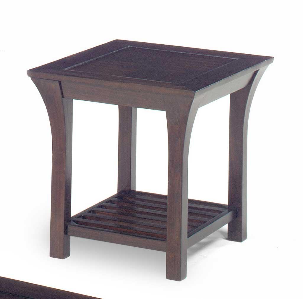 Jackson 813 Series End Table - Merlot Wood with Slat Shelves