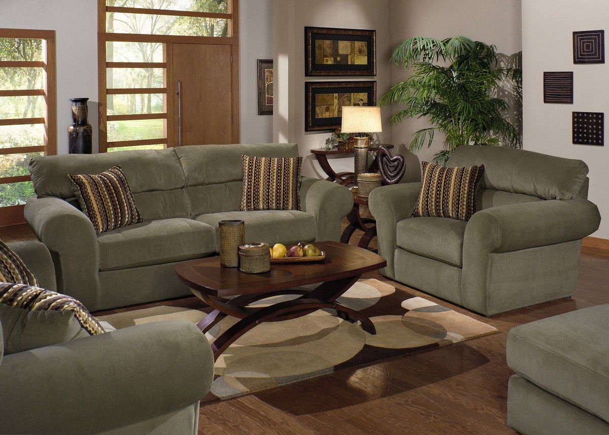 Jackson mesa sofa set jf 4366 set at for Living room with green sofa