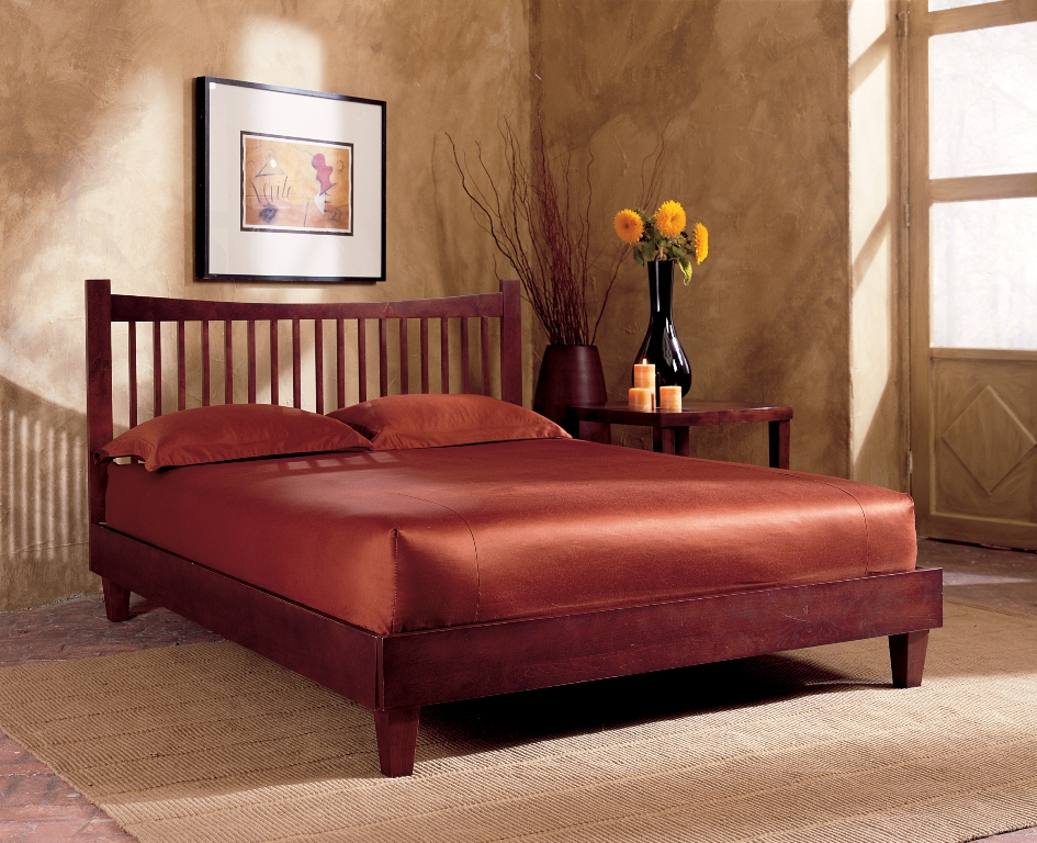 Legget Platt B51E85 Jakarta Platform Bed with Rails Queen Mahogany