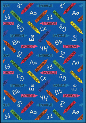 Joy Carpet Crayons Rug - Blue
