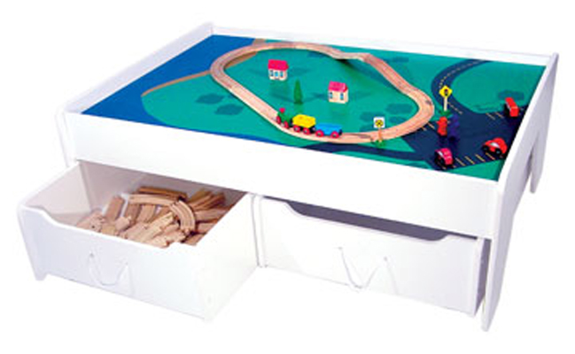 KidKraft Train Table with 2 Trundle Drawers - White