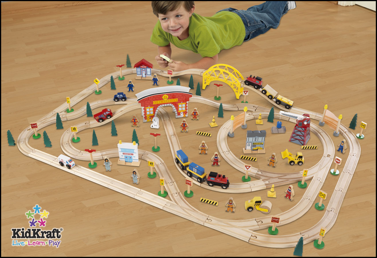 KidKraft Busy City Train Set 145 Piece - PlayKraft by Kidkraft
