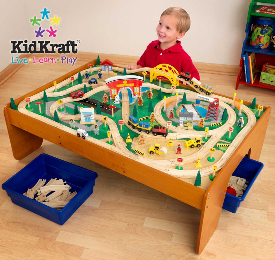 KidKraft Busy Town Train Table and 145 Piece Train Set - Kidkraft