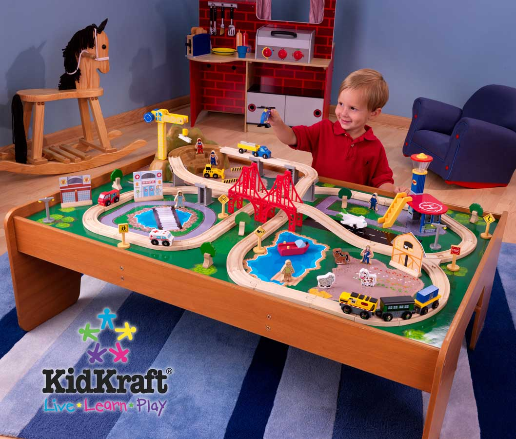 Kidkraft ride around town train set with table kidkraft for 100 piece cityscape train set and wooden activity table