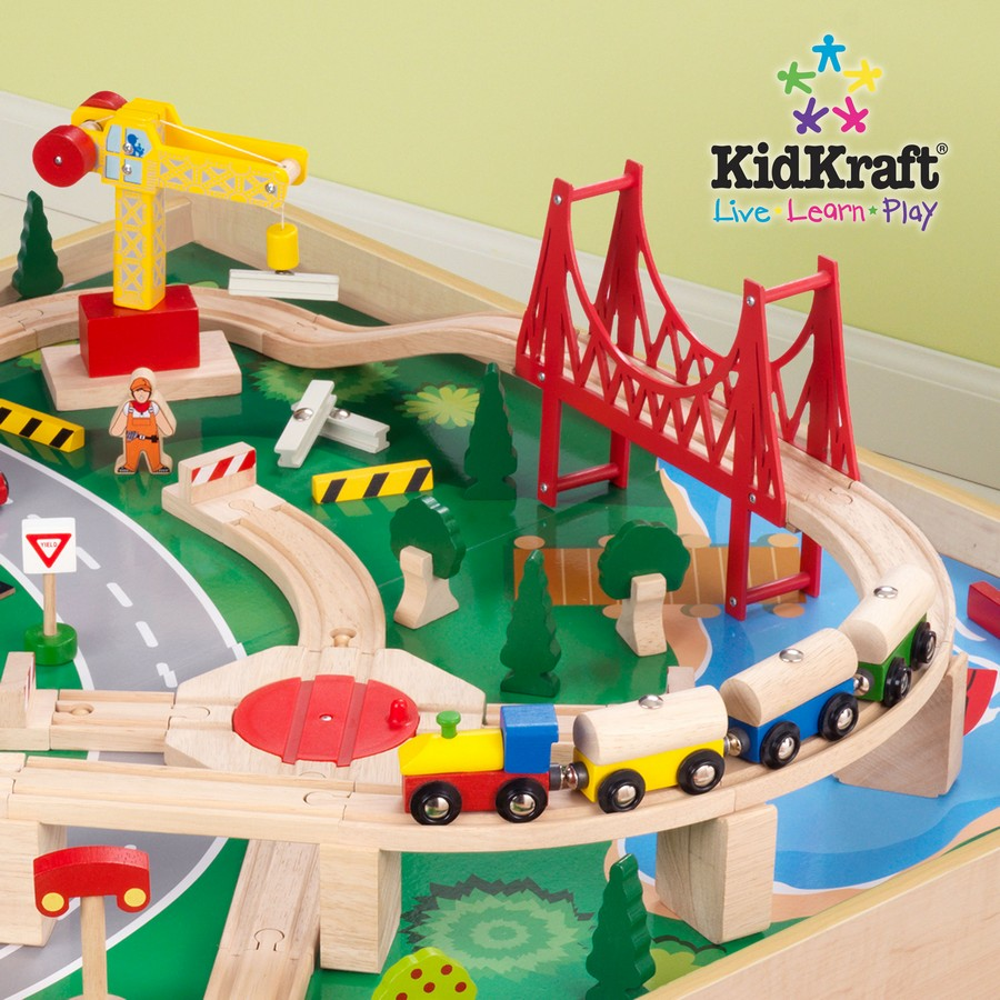 KidKraft Natural Train Table With 3 Bins And 120pc Mountain Train Set