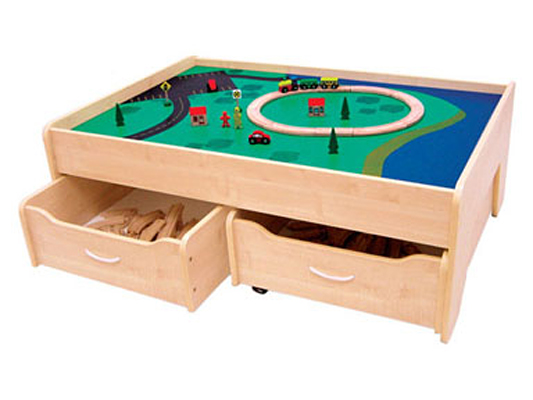 KidKraft Train Table with 2 Trundle Drawers - Natural